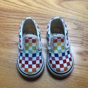 Vans rainbow checkerboard slip on size 4 toddler